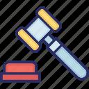 court, gavel, justice, order, tribunal icon
