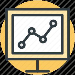 graph, monitor screen, online graph, online presentation, statistics icon