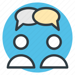 chat bubbles, chatting, fellows, gossip, two persons icon