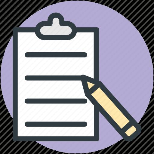 clipboard, document, edit, list, memo, message, office supplies, pen, report, school supplies, task, writing icon