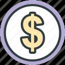 currency, dollar coin, saving, finance, money