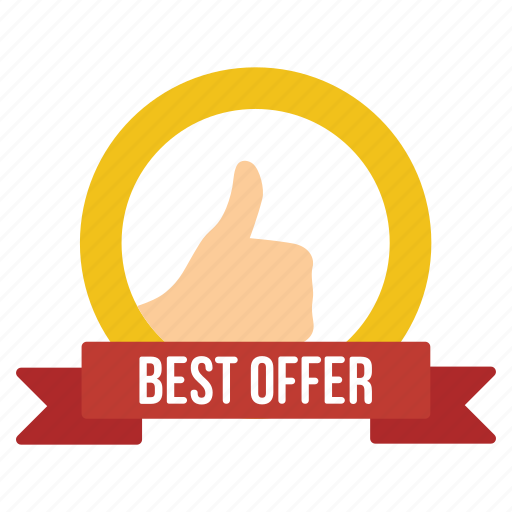 achievement, best, mark, offer, promotion, quality, thumb up icon