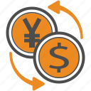 business, dollar, finance, jpy, trading, usd, yen icon
