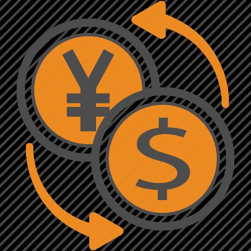 business, dollar, finance, jpy, trading, usd, yen icon
