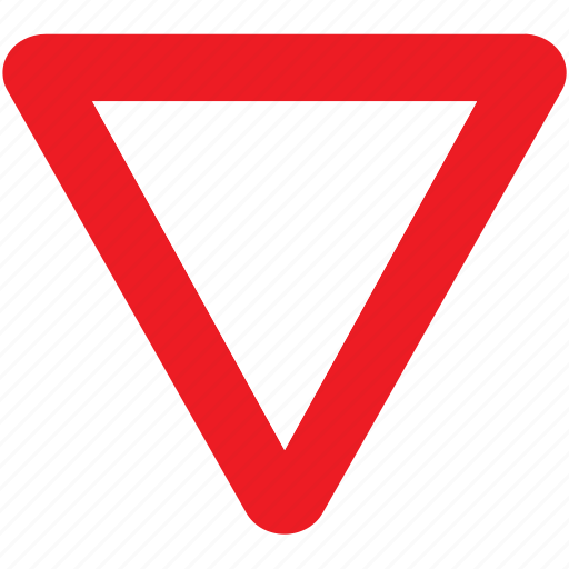 attention, give way, sign, signal, traffic, triangle icon