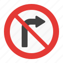 no, right, sign, traffic, turn icon