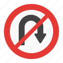 no, sign, traffic, turn, u icon