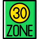 limit, sign, speed, traffic, transport, zone icon