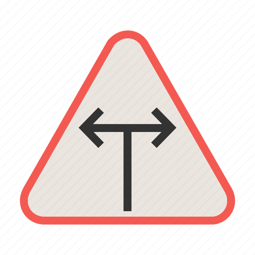 intersection, road, sign, t, traffic, transportation, warning icon