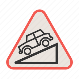 arrow, down, downward, hill, slope, traffic, warning icon