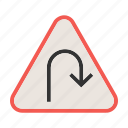 arrow, road, sign, turn, u, u-turn, warning icon