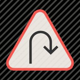 arrow, road, sign, turn, u, u-turn, warning icon