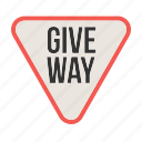 give, highway, red, road, sign, traffic, way