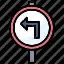 circulation, left, sign, signaling, traffic, transportation, turn icon