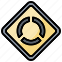 regulation, road, roundabout, sign icon