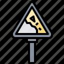 falling, rocks, sign, signaling, traffic, trianglesigns, warning icon