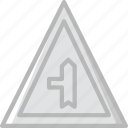 left, minor, road, side, sign, traffic, transport icon