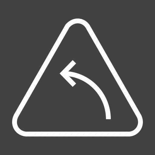 arrow, curve, hazard, highway, left, safety, sign icon