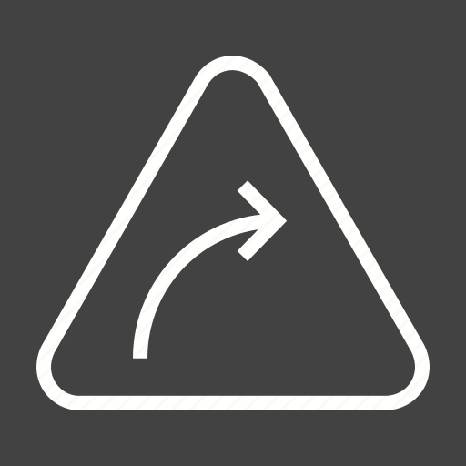 Arrow, curve, hazard, highway, right, safety, sign icon - Download on Iconfinder