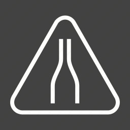 caution, merge, narrow, road, sign, traffic, warning icon