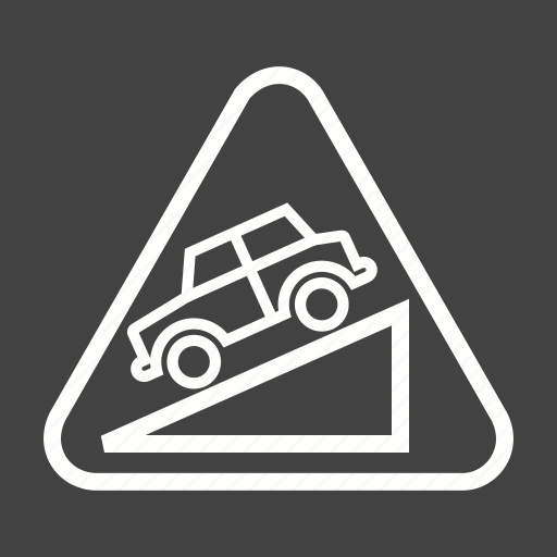 arrow, down, downward, hill, sign, slope, warning icon