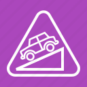 arrow, down, downward, hill, sign, traffic, warning icon