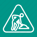 construction, excavation, road, safety, sign, under, warning icon