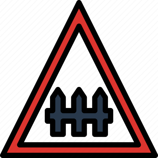 crossing, guarded, level, sign, traffic, transport icon