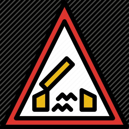 ahead, bridge, sign, traffic, transport icon