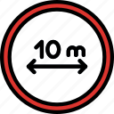distance, maintain, sign, traffic, transport icon