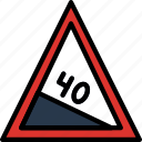 degree, hill, sign, traffic, transport icon