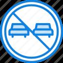 forbidden, overtaking, sign, traffic, transport icon