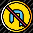 around, forbidden, sign, turn, traffic, transport icon