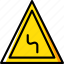 bend, left, reverse, sign, traffic, transport icon