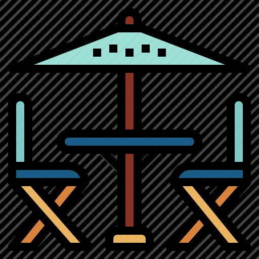 chairs, sun, terrace, umbrella icon