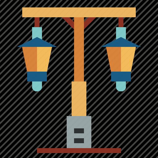buildings, lamp, light, street icon