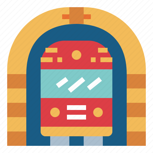 station, subway, train, tunnel icon