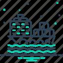 cargo, cargo ship, container, ocean, ship, transport icon