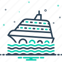 cruise, ship, transportation, travel, vacation, wave icon