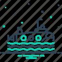 journey, ship, submarine, transport, wave icon