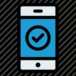 accept, approve, bank, mobile, success, transaction, verify icon