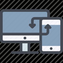 data, device, laptop, mobile, synchronize, transaction, transfer icon