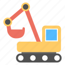 construction transport, crane, digger, excavator, heavy transport, industrial machinery icon