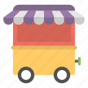 cart for food, fast food car, food cart, food cart kiosk, mobile food kiosk, vending car icon