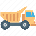 construction truck, dump truck, dumper, transport, vehicle icon