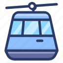 cable car, cable car cabin, cableway, chairlift, transport icon