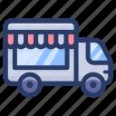 food truck, food van, ice cream cart, mobile coffee shop, mobile food cart icon
