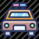 autonomous car, cop, police car, police vehicle, political car icon
