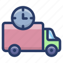 cargo services, delivery on time, delivery time, delivery truck, fast delivery icon