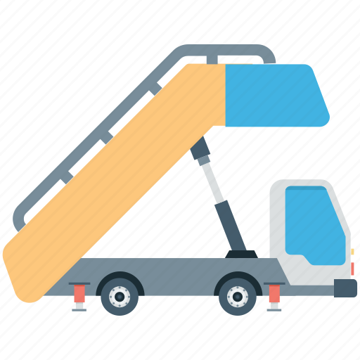 airport truck, airstair, plane boarding, plane stairs, vehicle icon